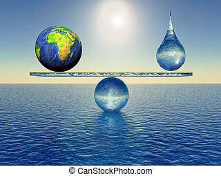 equilibrium - earth in balance with a drop of water