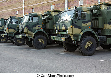 new military trucks on the parking