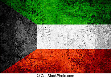 Kuwait flag - flag of Kuwait or Kuwaiti banner on rough...