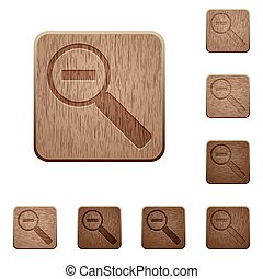 Zoom out wooden buttons - Set of carved wooden zoom out...
