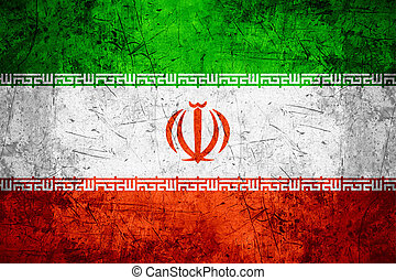 Iran flag - flag of Iran or Iranian banner on rough pattern...