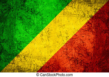Congo flag - flag of Congo or Congolese banner on rough...