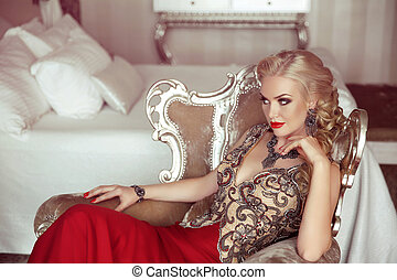 Elegant lady. Fashion beautiful sensual blond woman with...