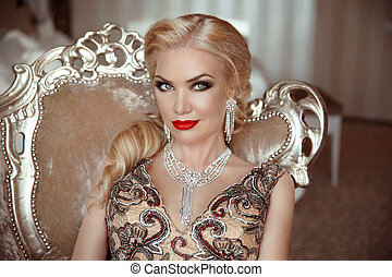 Fashion indoor portrait of beautiful sensual blond woman...