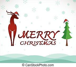 Vector merry christmas greeting deer card on white...