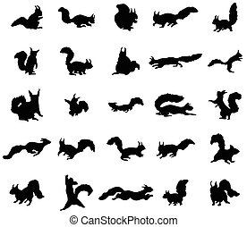 Squirrel silhouettes set