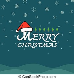 Vector merry christmas greeting card on dark blue background