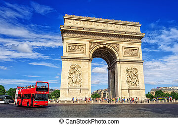 The Triumphal Arch, Paris, France - The Arc de Triomphe de...