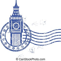 Stamp with Big Ben - London - Grunge round stamp with Big...