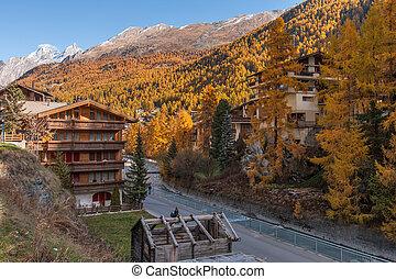 autumn view of Zermatt resort