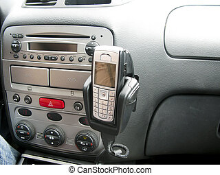 Interior of car with mobile - Console of car showing mobile...