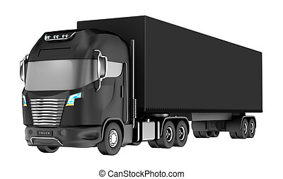 Balck truck with container isolated on white. My own design