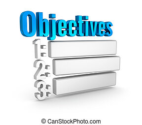 Objectives list 3d word concept over white
