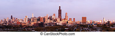Panorama of Chicago at sunset