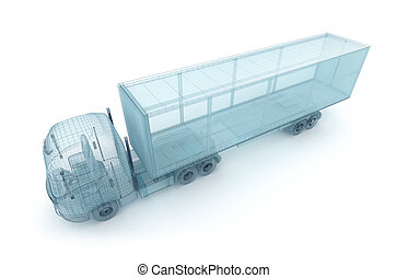 Truck with cargo container, wire model. My own design