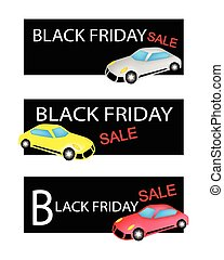 Sports Cars on Three Black Friday Sale Banners -...