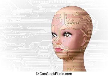 Artificial Intelligence concept - Double exposure artificial...