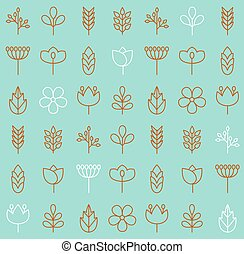 Vector plant icons background