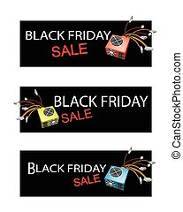 Power Supply Box on Three Black Friday Sale Banners -...