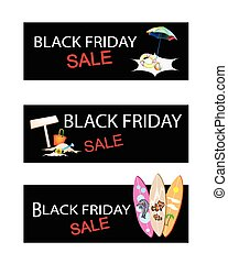 Beach Items on Three Black Friday Sale Banners -...