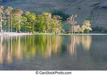 Reflection on the Buttermere Lake, Lake District, Great...