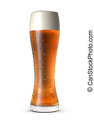 glass of beer - 3d illustration of glass of beer on white