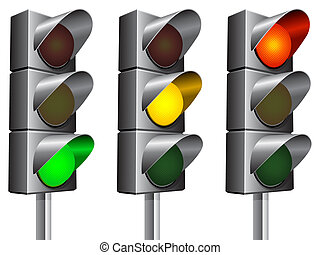 Traffic lights. - Traffic lights signals set.