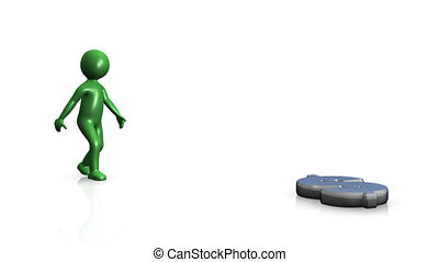 Green 3D man finding dollar against a white background