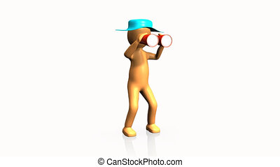 3D man looking through binoculars against a white background...