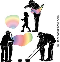 people and a soap bubble