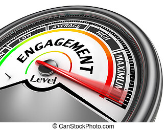 Engagement level to maximum conceptual meter, isolated on...