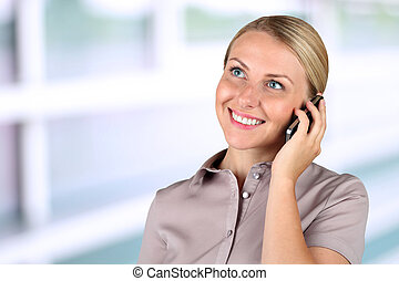 Portrait of smiling business woman phone talking
