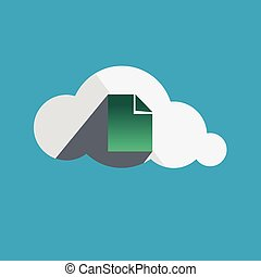 Document in Cloud flat design icon Vector illustration