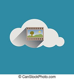 Image in Cloud flat design icon Vector illustration
