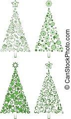 Cartoon Christmas Holiday Trees