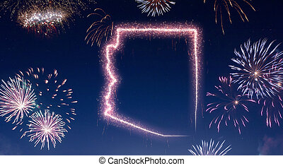 Night sky with fireworks shaped as Arizona.(series)