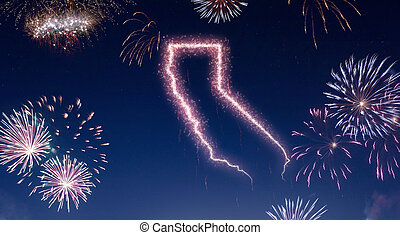 Night sky with fireworks shaped as California.(series)