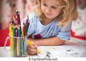 鉛筆, カラフルである, 子供, 肖像画, 女の子, 図画