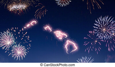 Night sky with fireworks shaped as Hawaii.(series)