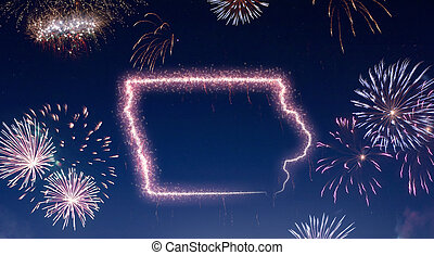 Night sky with fireworks shaped as Iowa.(series)