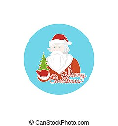 Colorful Icon Santa Claus Holds in a Hand Green Christmas...