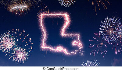 Night sky with fireworks shaped as Louisiana.(series)