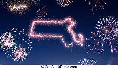 Night sky with fireworks shaped as Massachusetts.(series)