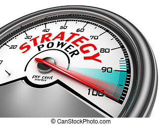 strategy power conceptual meter indicate hundred per cent
