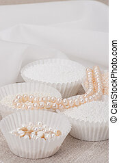 Beads Jewelry On Natural Linen Background Hand Made