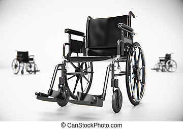 Wheelchair in empty room - Standard manual wheelchair...