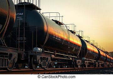 Rail oil car. - Transportation tank cars with oil during...