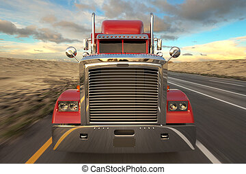 Semi-trailer truck - 18 Wheel Truck on the road during the...