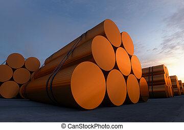 Copper billet. - Stacks of cylindrical copper billets. In...