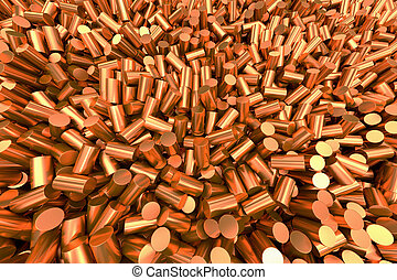 Copper granulate - Close up of pure copper cylindrical...
